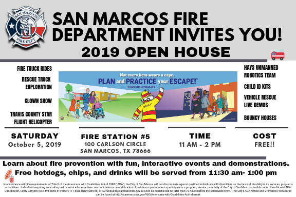 2019 SMFD Open House Invitation