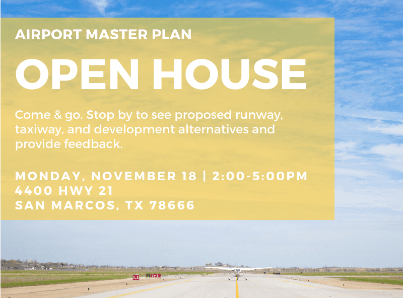 Master Plan Open House graphic with meeting information printed in yellow box on top of airplane tar