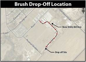 Map to brush drop-off location behind San Marcos Animal Shelter