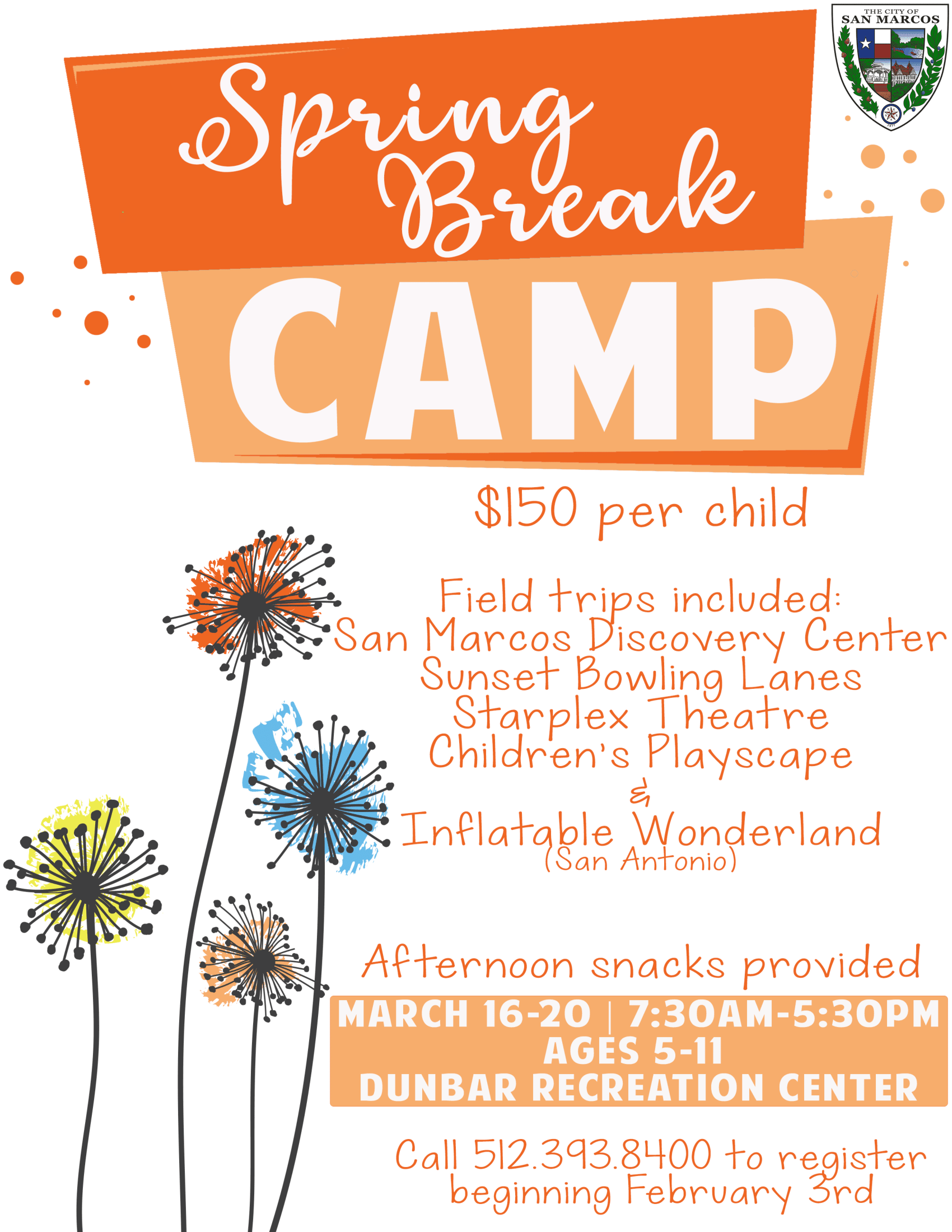 Spring Break Camp 2020 Flyer