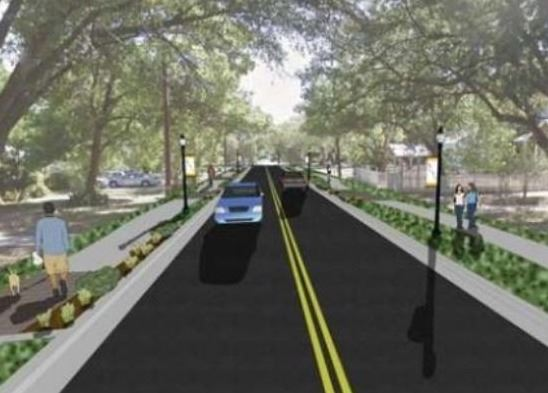Hopkins Improvements Design mock-up featuring wider road, pedestrian access, and preserved heritage