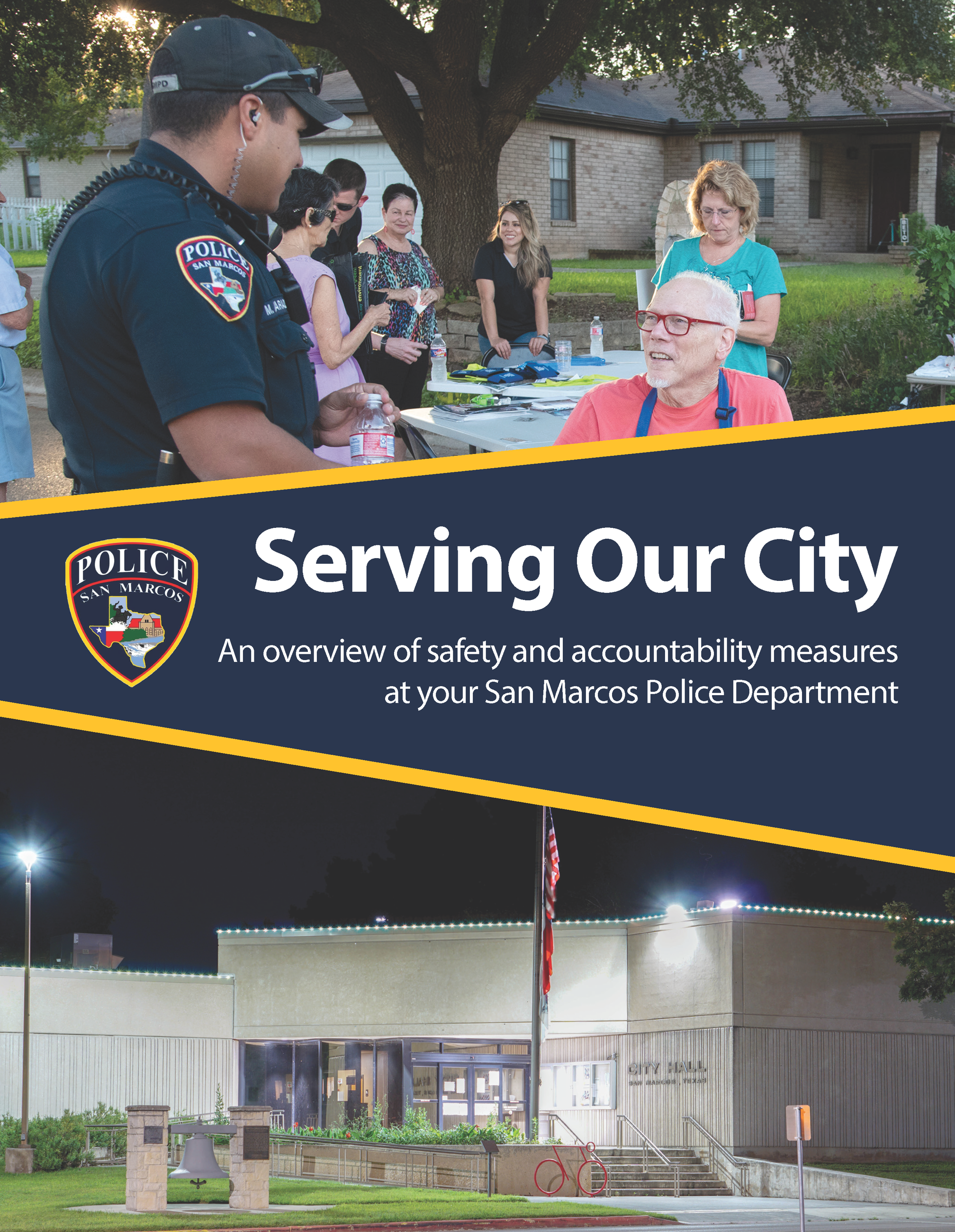 The front page of a brochure stating Serving Our City An overview of safety and accountability measu