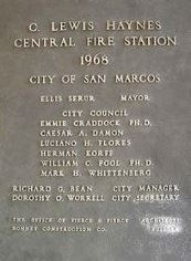 C. Lewis Haynes Central Fire Station Plaque