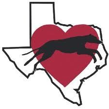 Greyhound dog running with a heart and texas state outline