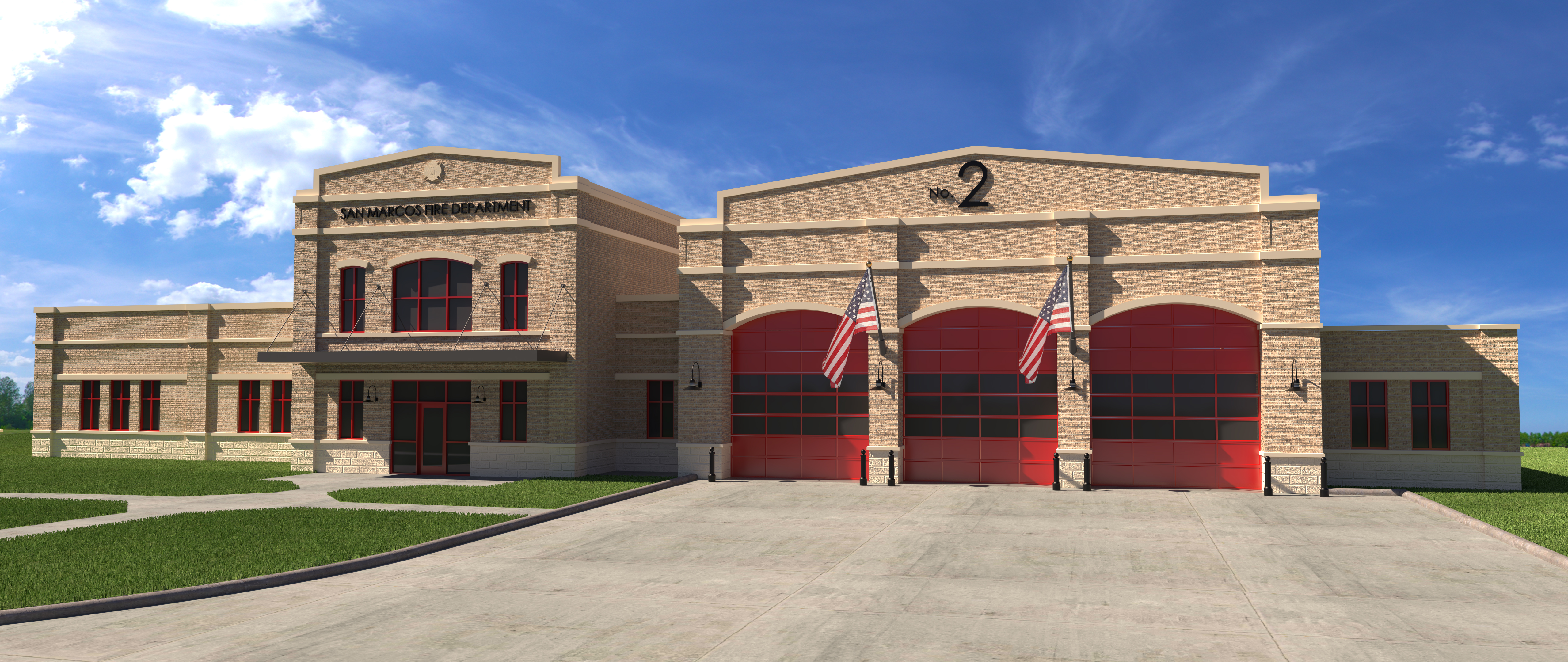 Fire Station 2 Rendering from the Front