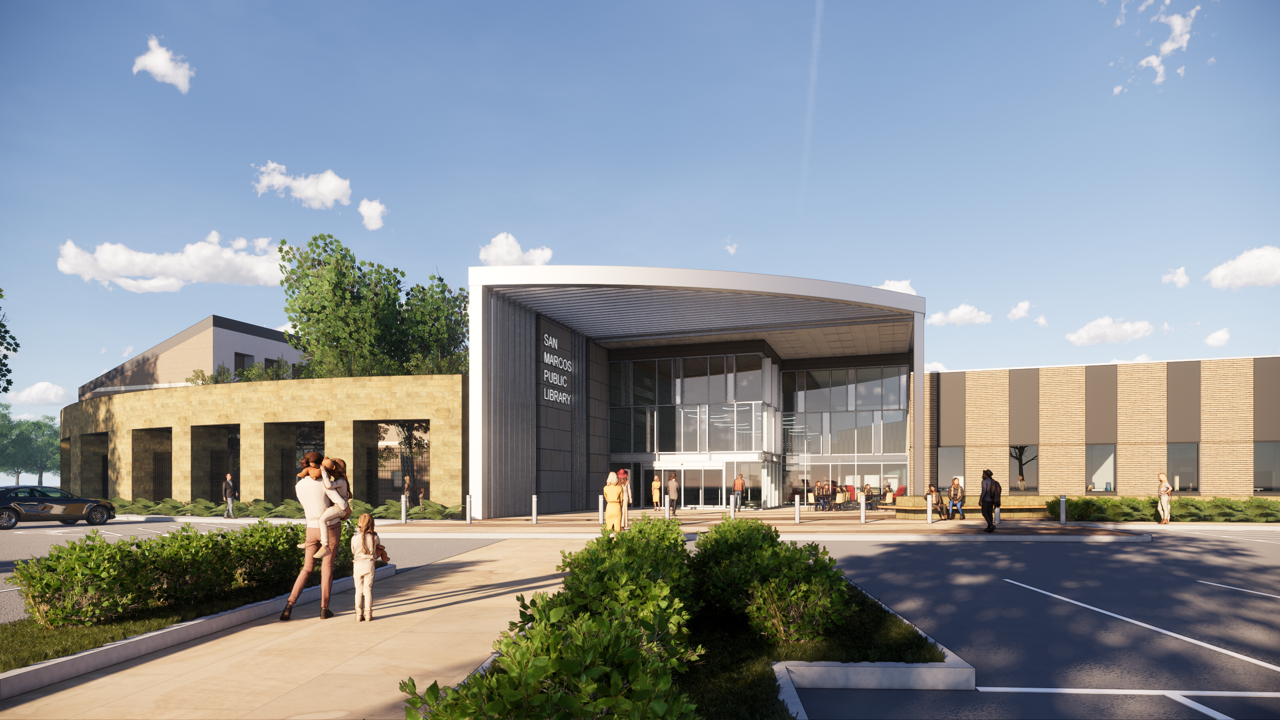Exterior Rendering of the Library redesign