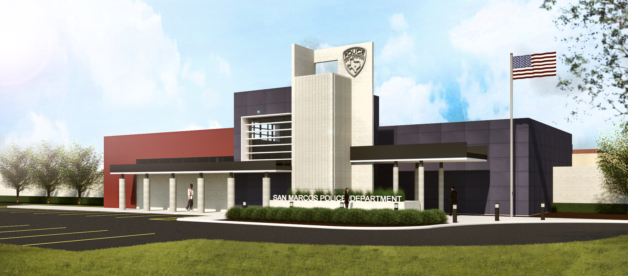 Rendering of the new SMPD station, front entrance