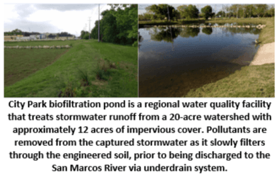 City Park biofiltration pond is a regional water quality facility that treats stormwater runoff from