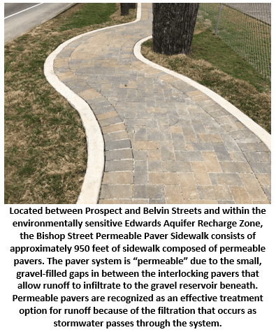 Bishop Permeable Paver Sidewalk consists of approximately 950 feet of sidewalk composed of permeable